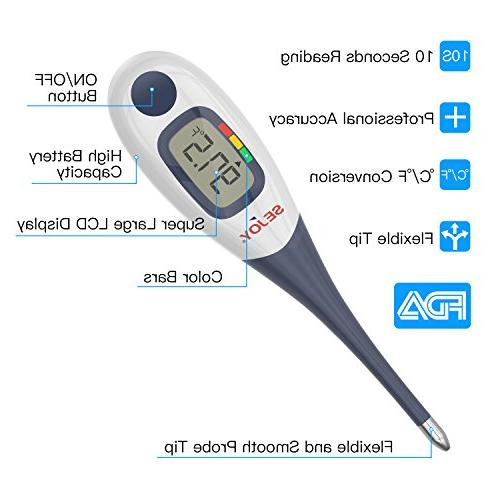 Digital 10-Second Thermometer Large Digital Display, Waterproof & Fever for Infants, Adults, &