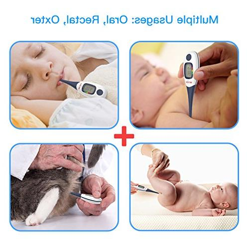 Digital Thermometer, 10-Second Reading Thermometer Large & Fever Indicator for Infants, & Pets