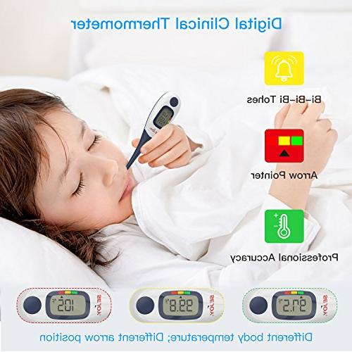 Digital Medical 10-Second Temperature Thermometer with Large Digital Waterproof & Indicator Infants, Children, Adults, Elderly &
